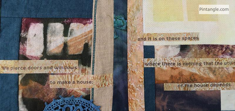 Lao Tze fabric book in progress page 5