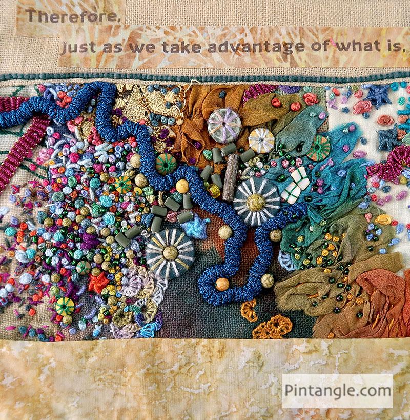 Lao Tze fabric book in progress page 6