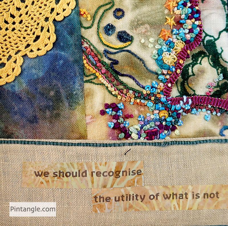 Lao Tze fabric book in progress page