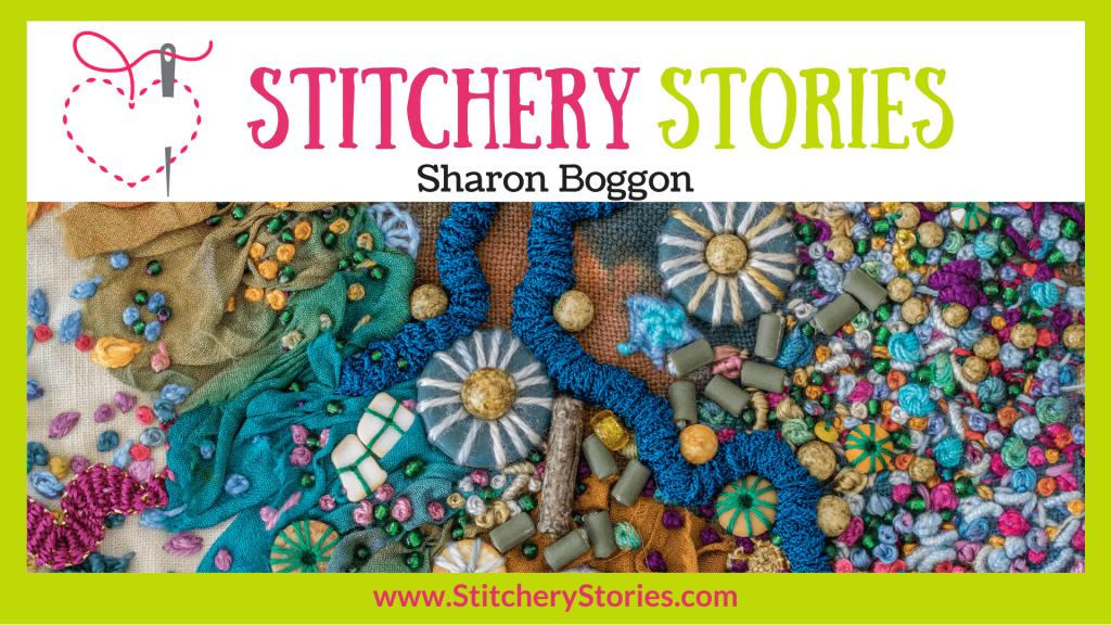 interviewed on the podcast Stitchery Stories graphic
