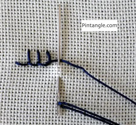 Alternating buttonhole stitch step 1