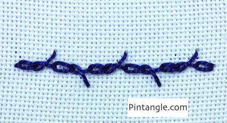 Whipped Barred Chain Stitch step 1