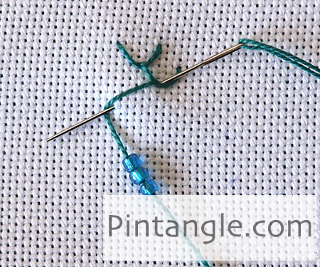 How to work Beaded Feather and Chain stitch tutorial step 2