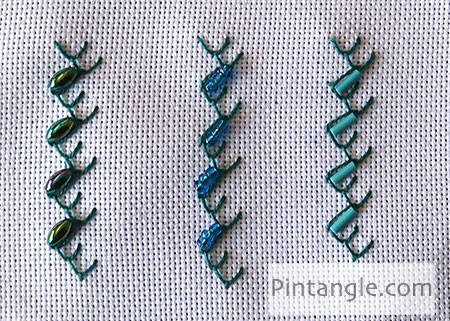 Beaded Feather and Chain stitch