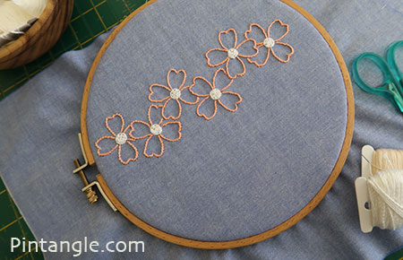 flower embroidery on a hoop