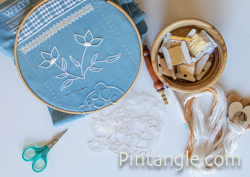 embroidery and templates on desk