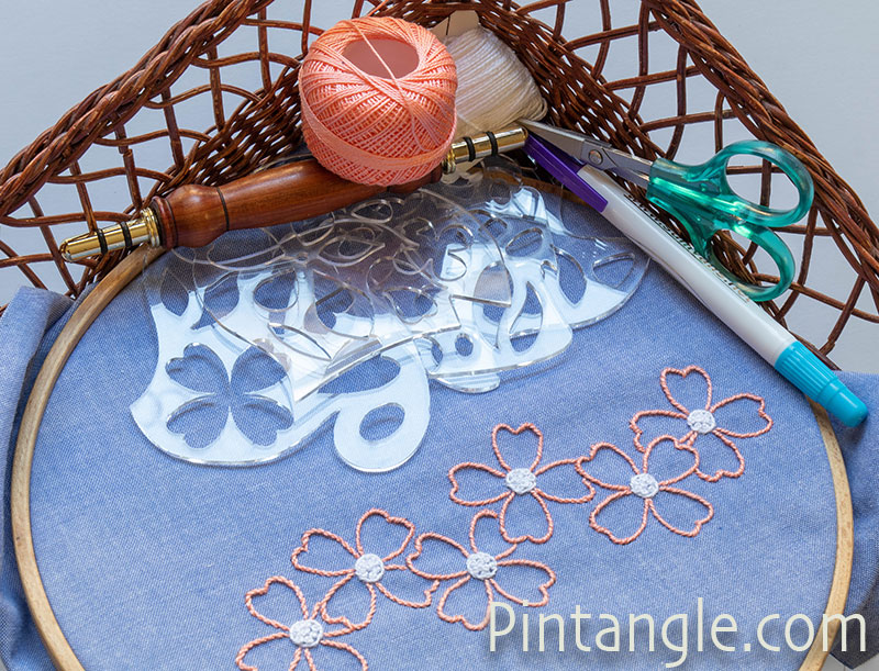 embroidery and templates in a basket