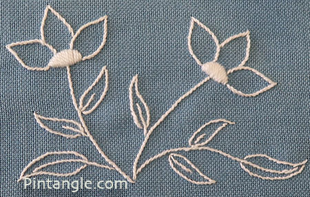 Flower embroidery white on blue